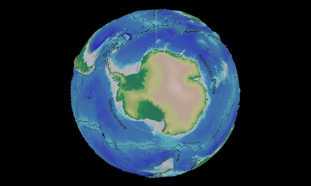 Antarctica tectonic and bathymetric map