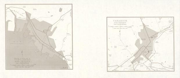 Mapas de Tokuyama, Yamaguchi y sus Cercanias, Japón 1954