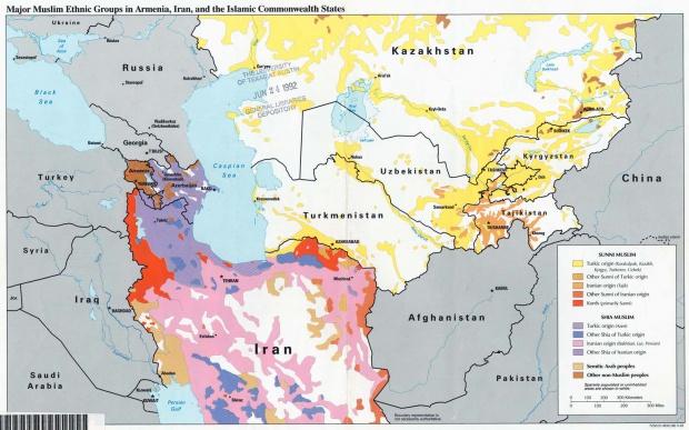 Map of Major Muslim Ethnic Groups in Armenia, Iran, Turkmenistan, Uzbekistan, Tajikistan, Kyrgyzstan
