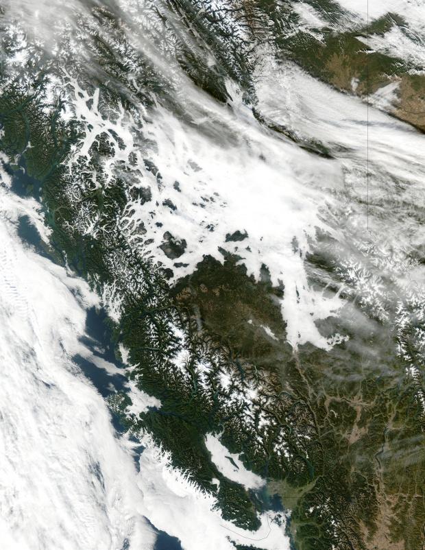 Niebla en los valles de las Montañas Rocosas, Columbia Británica