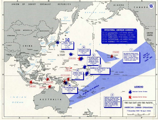 American aircraft carriers operations in the Pacific War 1941-42