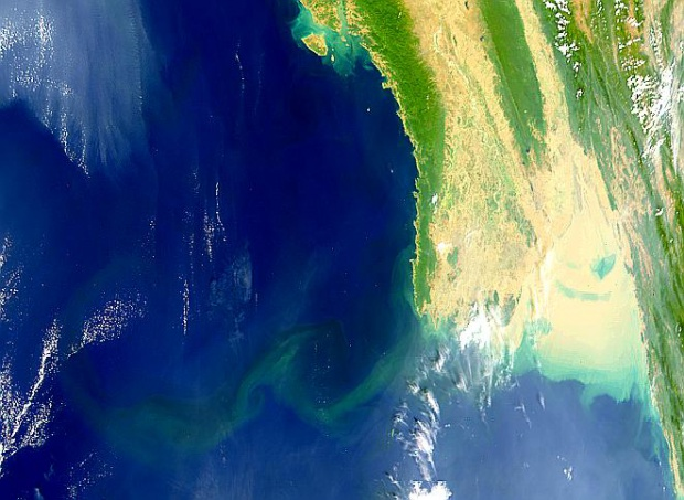 Penacho de sedimentos del Río Irawadi