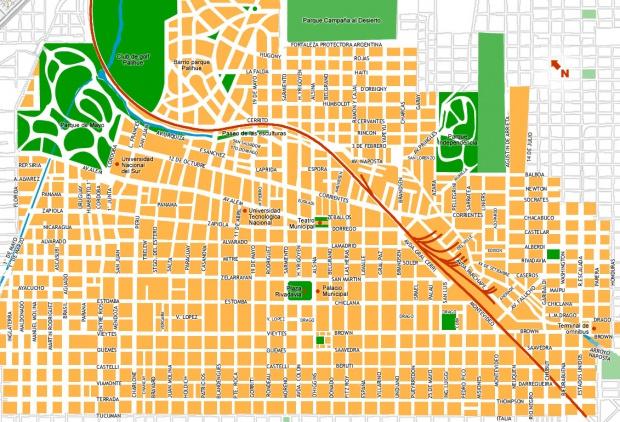 Plano de Bahía Blanca, Prov. Buenos Aires, Argentina