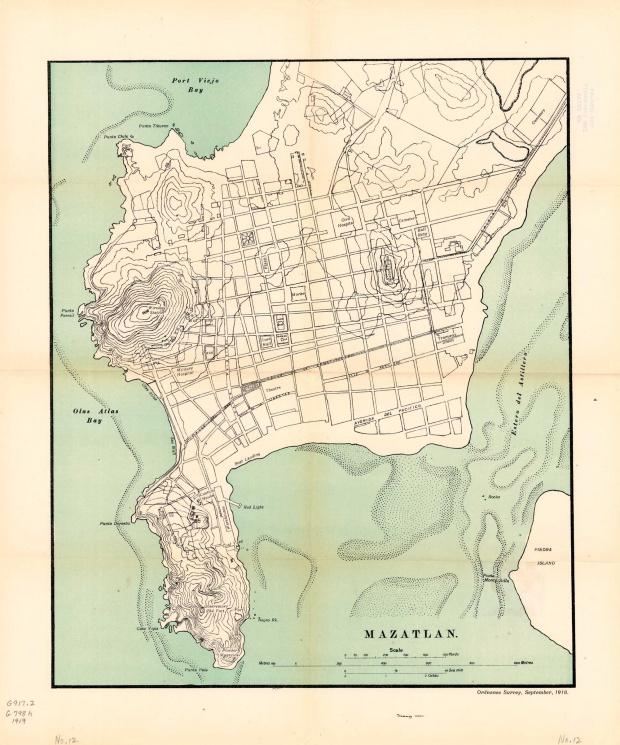 Plano de la Ciudad Portuaria de Mazatlán, México 1919
