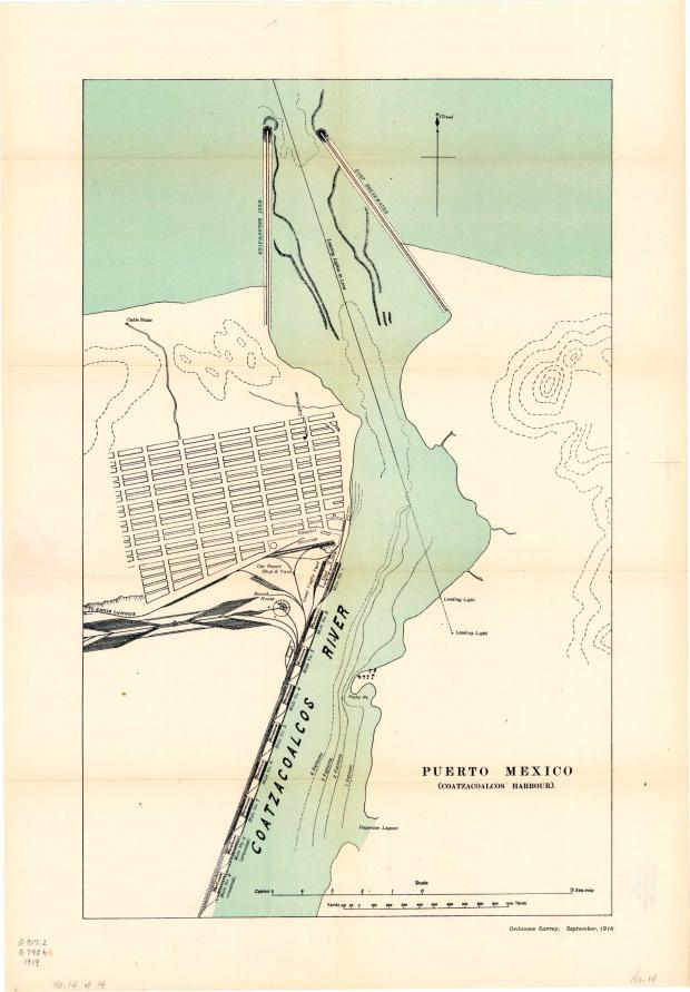 Plano de la Ciudad Portuaria de Puerto México (Coatzacoalcos), México 1919