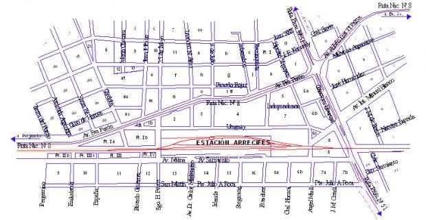 Plano de la Ciudad de Arrecifes 1, Prov. Buenos Aires, Argentina