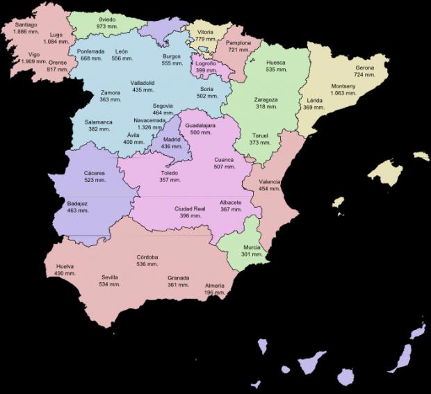 Pluviosidad media anual por ciudades de España 1971-2000