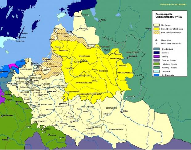 Polonia y Lituania, la Unión de Lublin en 1569