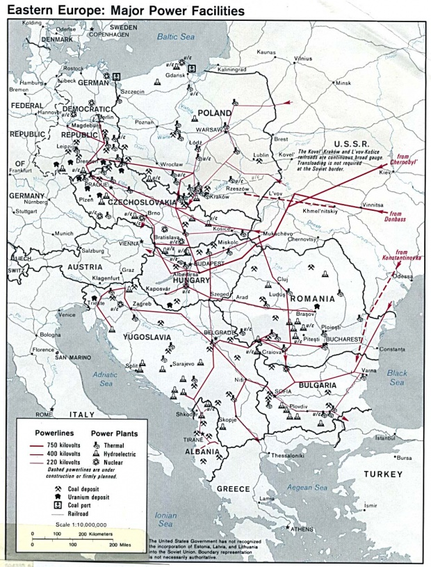 Eastern Europe major power facilities 1980