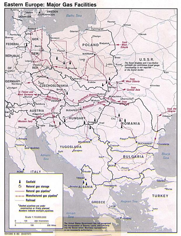 Eastern Europe major gas facilities 1980