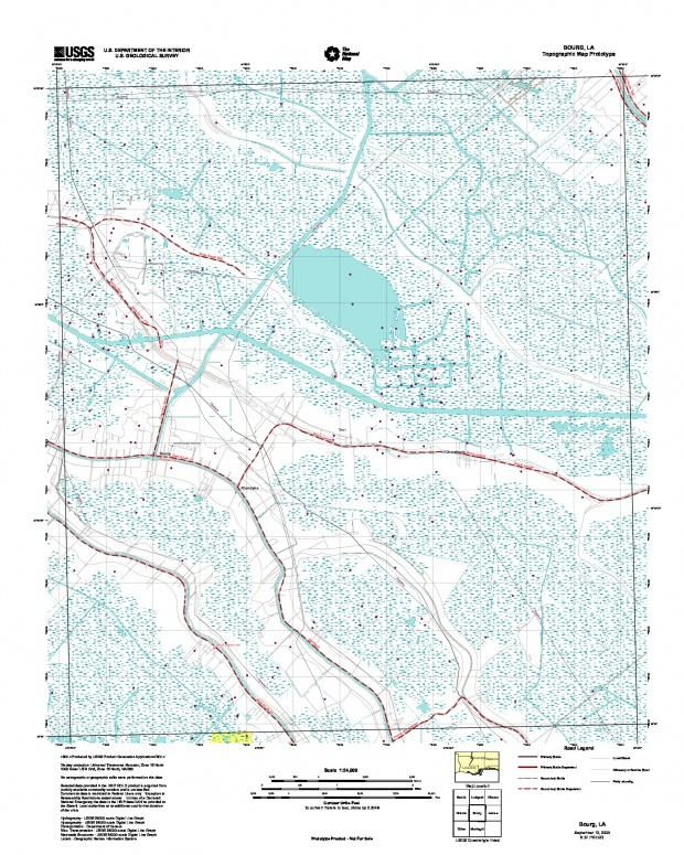 Bourg, Topographic Map Prototype, Louisiana, United States, September 12, 2005