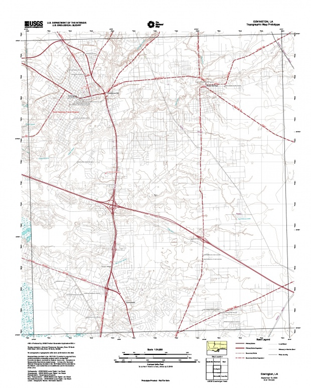 Covington, Topographic Map Prototype, Louisiana, United States, September 12, 2005