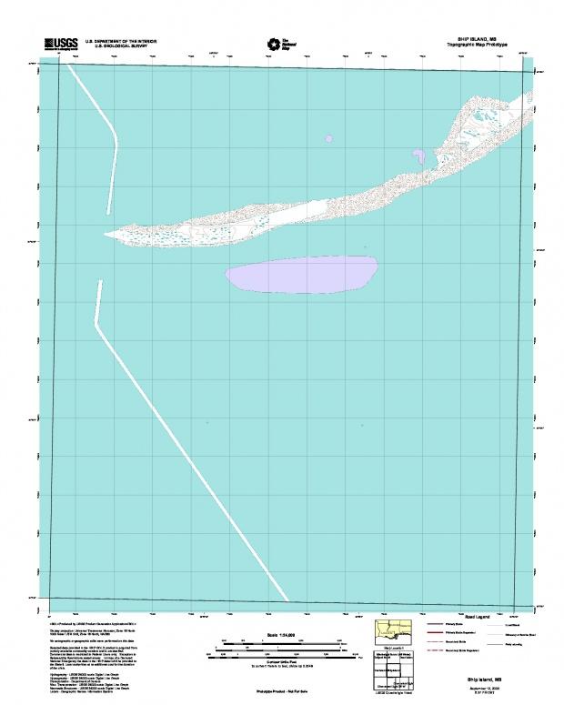 Prototipo de Mapa Topográfico de Ship Island, Misisipi, Estados Unidos, Septiembre 12, 2005