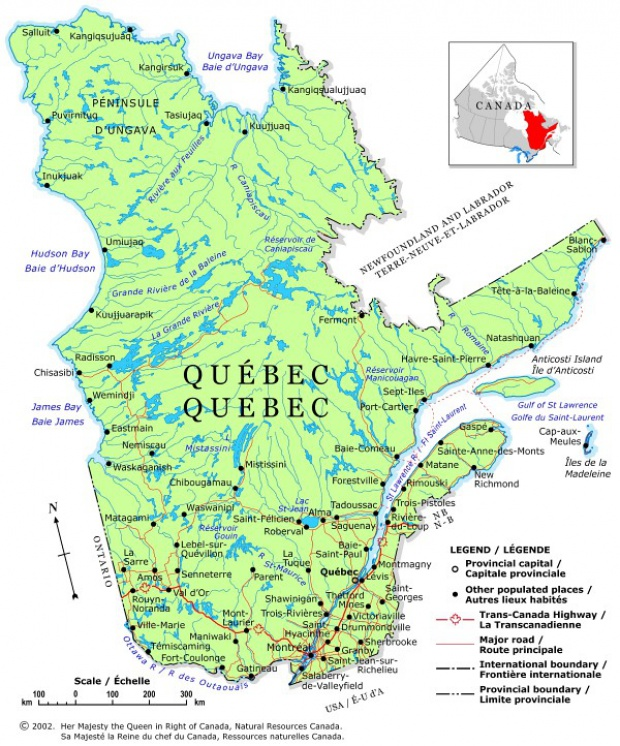 Quebec Map with Toponyms