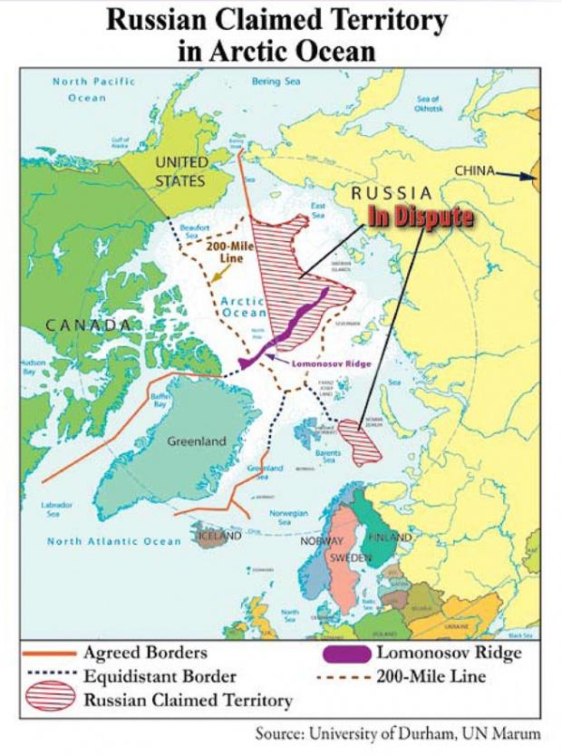 Russian claimed territory in Arctic Ocean 2008