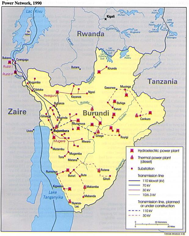 Red de Energía Eléctrica de Burundi 1990