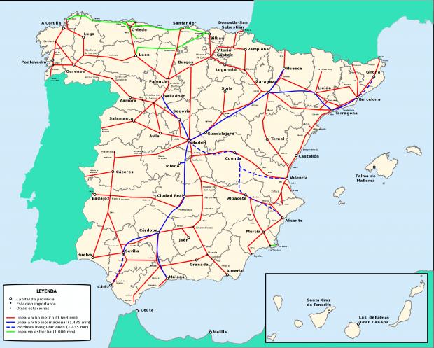 Spain railway network 2009