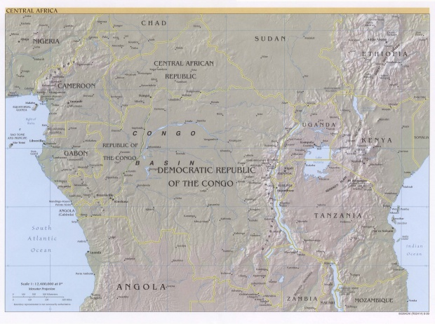 Central Africa physical map 1999