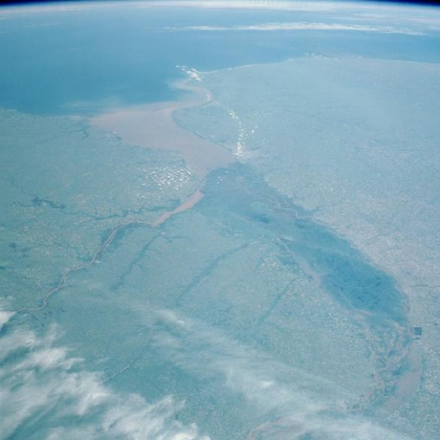 Satellite Image, Photo of Rio de la Plata, Argentina