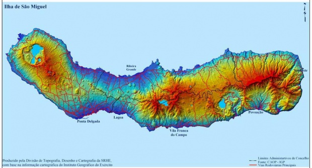 San Miguel Island Map, Portugal