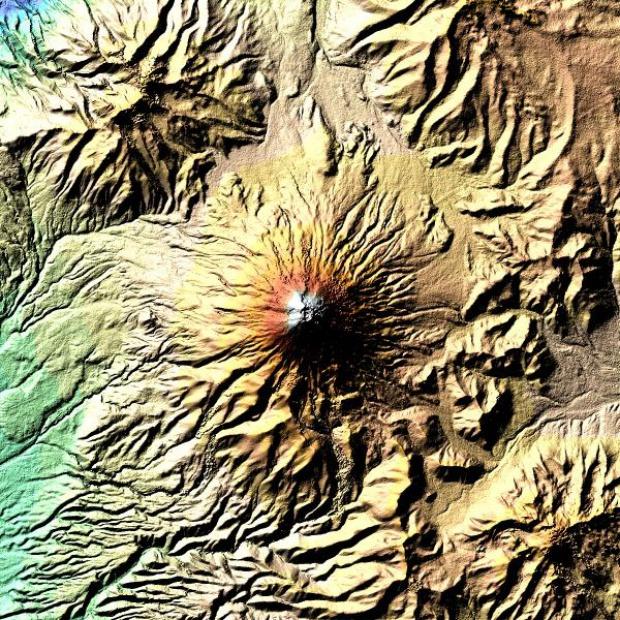 Satellite Image, Photo of Cotopaxi Volcano, Ecuador
