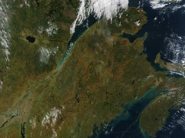 Satellite Image, Photo of Gaspésie and Eastern Quebec
