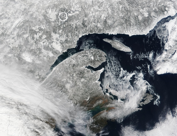 Satellite Image, Photo of Gulf of Saint Lawrence, Quebec