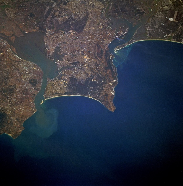 Satellite Image, Photo of Lisbon and Tagus River Estuary, Portugal