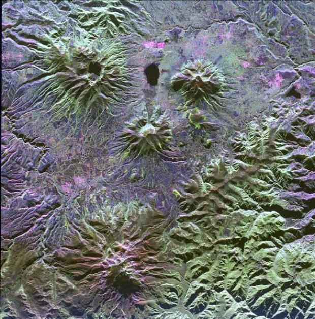 Satellite Image, Photo of Mojanda, Imabura and Cusin Volcanoes, Ecuador