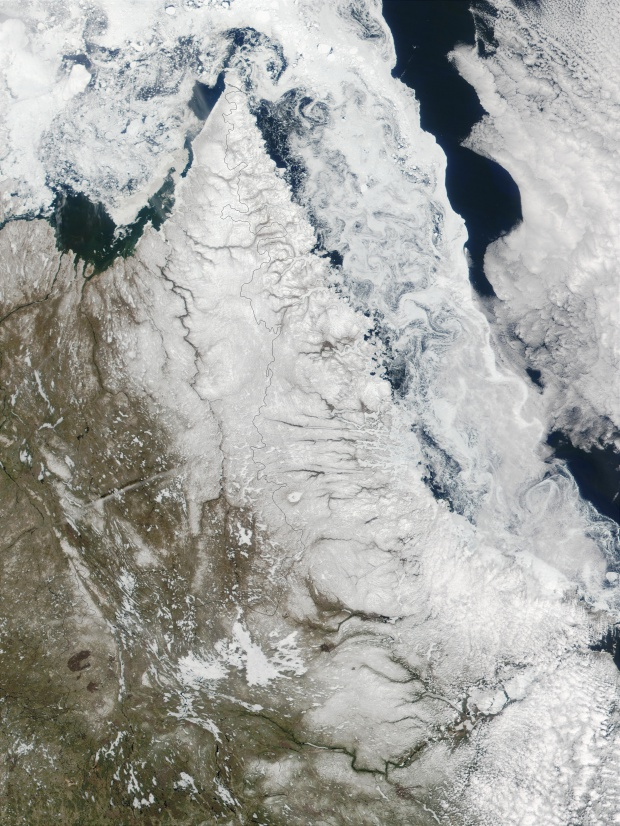 Satellite Image, Photo of Northeast Quebec and Labrador