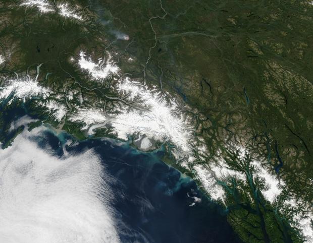 Sedimento a lo largo de la costa meridional de Alaska