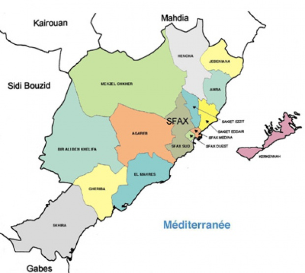 Sfax Governorate Map, Tunisia