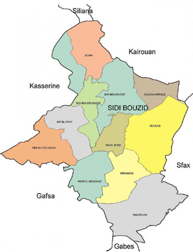 Sidi Bouzid Governorate Map, Tunisia