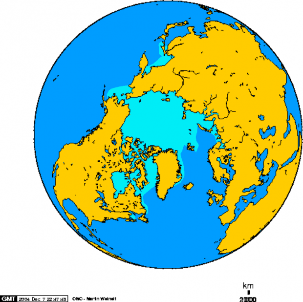 Arctic ice-pack in February 1978-2002