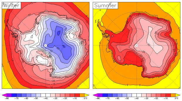 Antarctic surface temperature in winter and summer 1979-2001