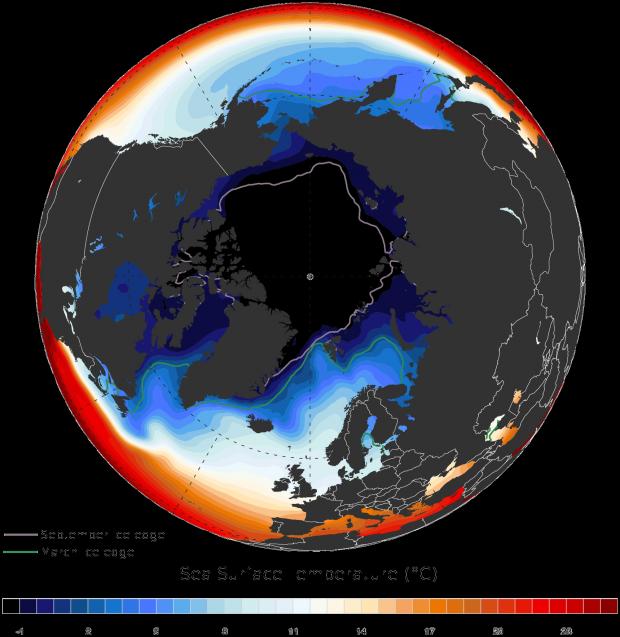 Temperatura superficial del Océano Ártico