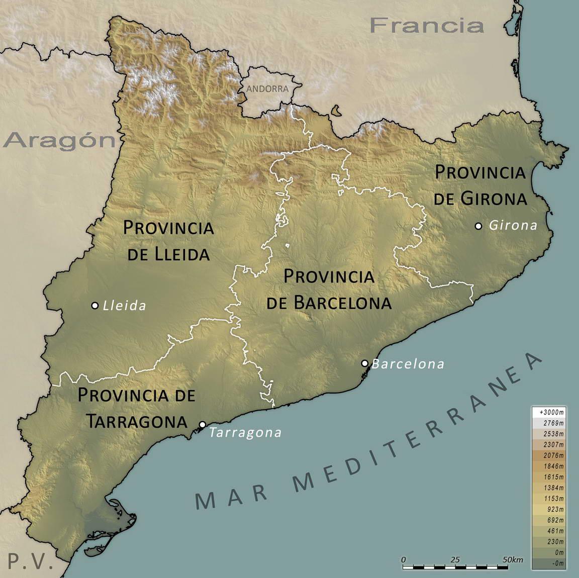 Mapa físico provincial de Cataluña