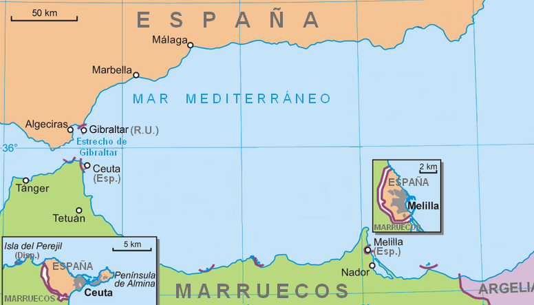 Location of Ceuta and Melilla 2007