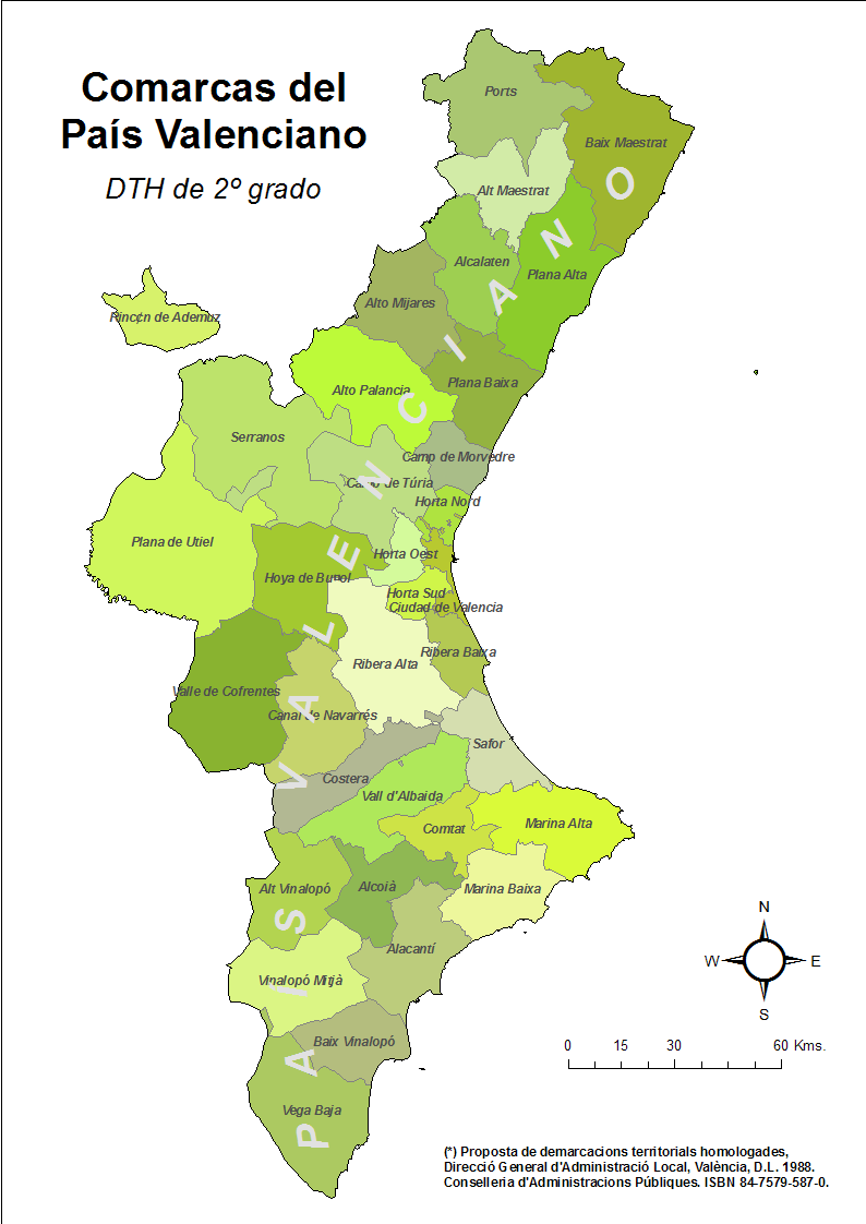 Mapa Municipios De Valencia.Mapa De Comarcas De La Comunidad Valenciana Mapa Owje Com