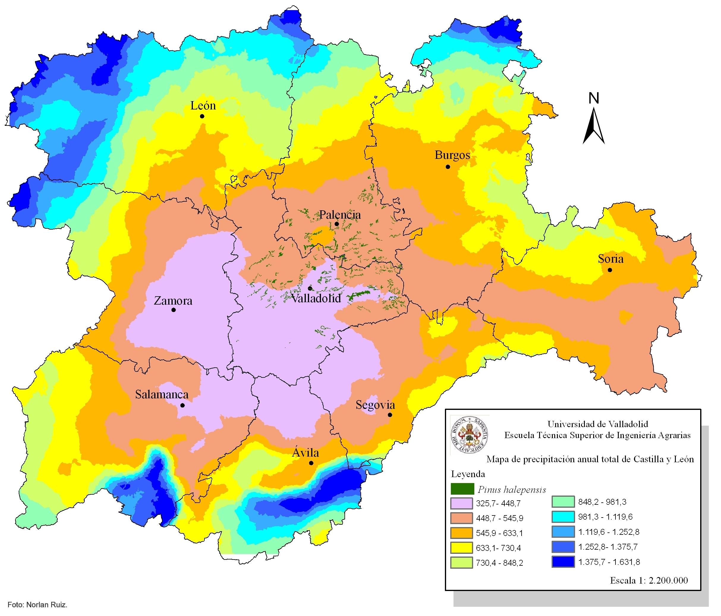 Precipitación anual total en Castilla y León