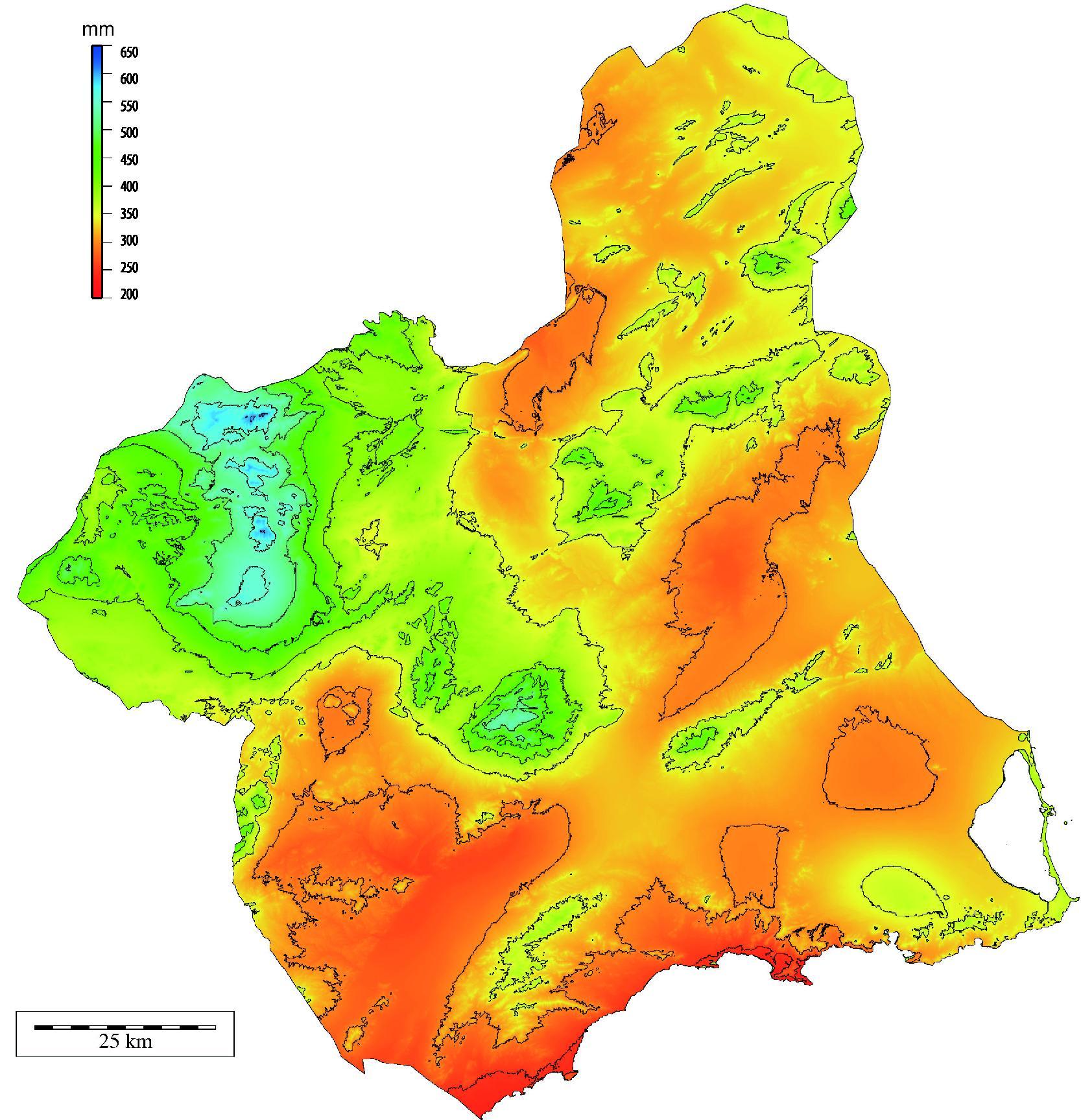 Precipitación media anual de la Región de Murcia