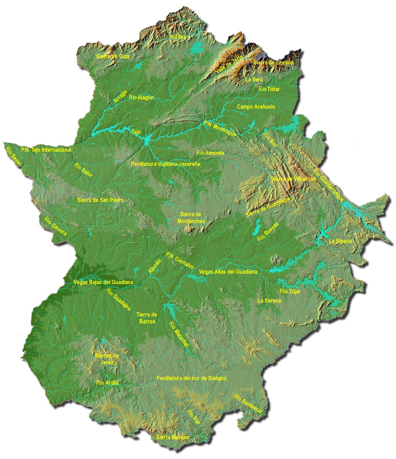 Physical map of Extremadura