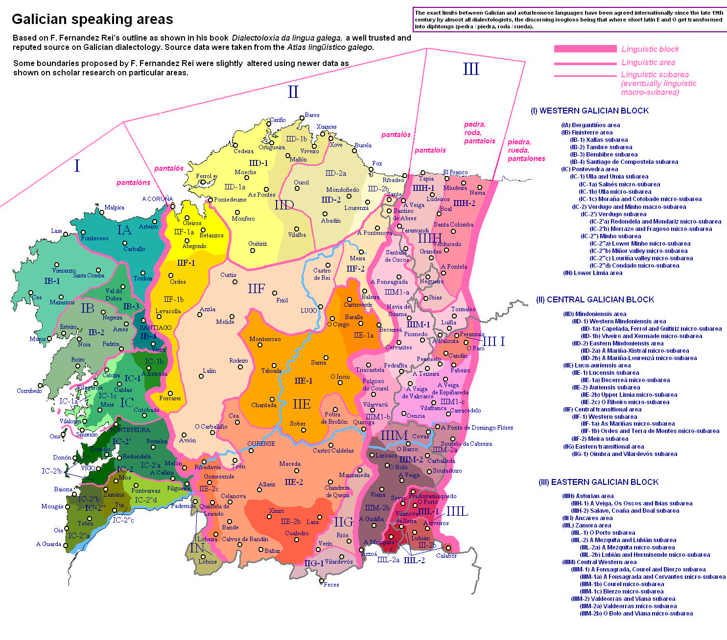 Galician language linguistic areas 2008