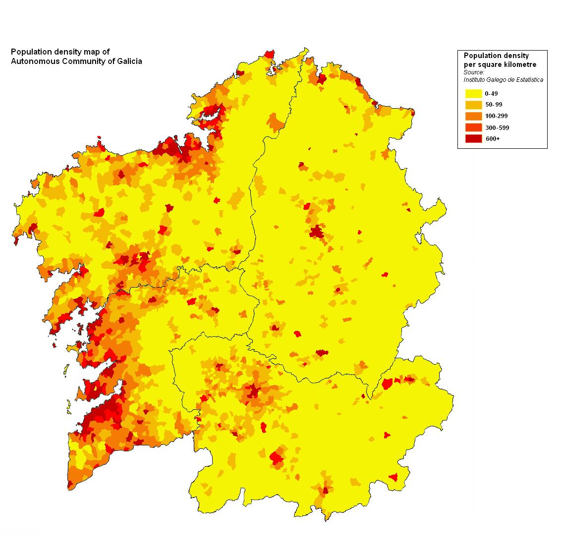 Densidad de población de Galicia 2008