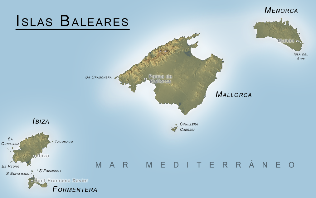 Physical map of the Balearic Islands 2006