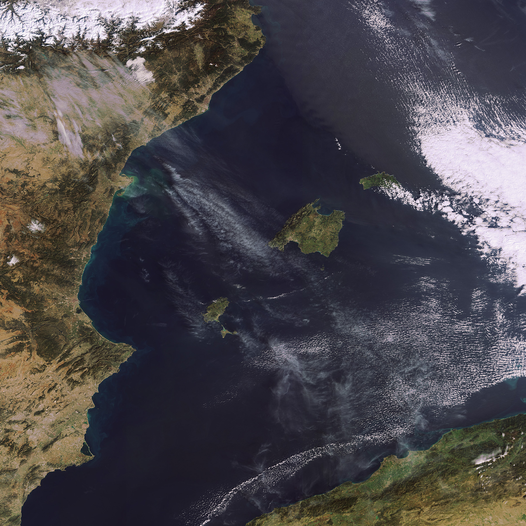 Satellite map of Balearic Islands