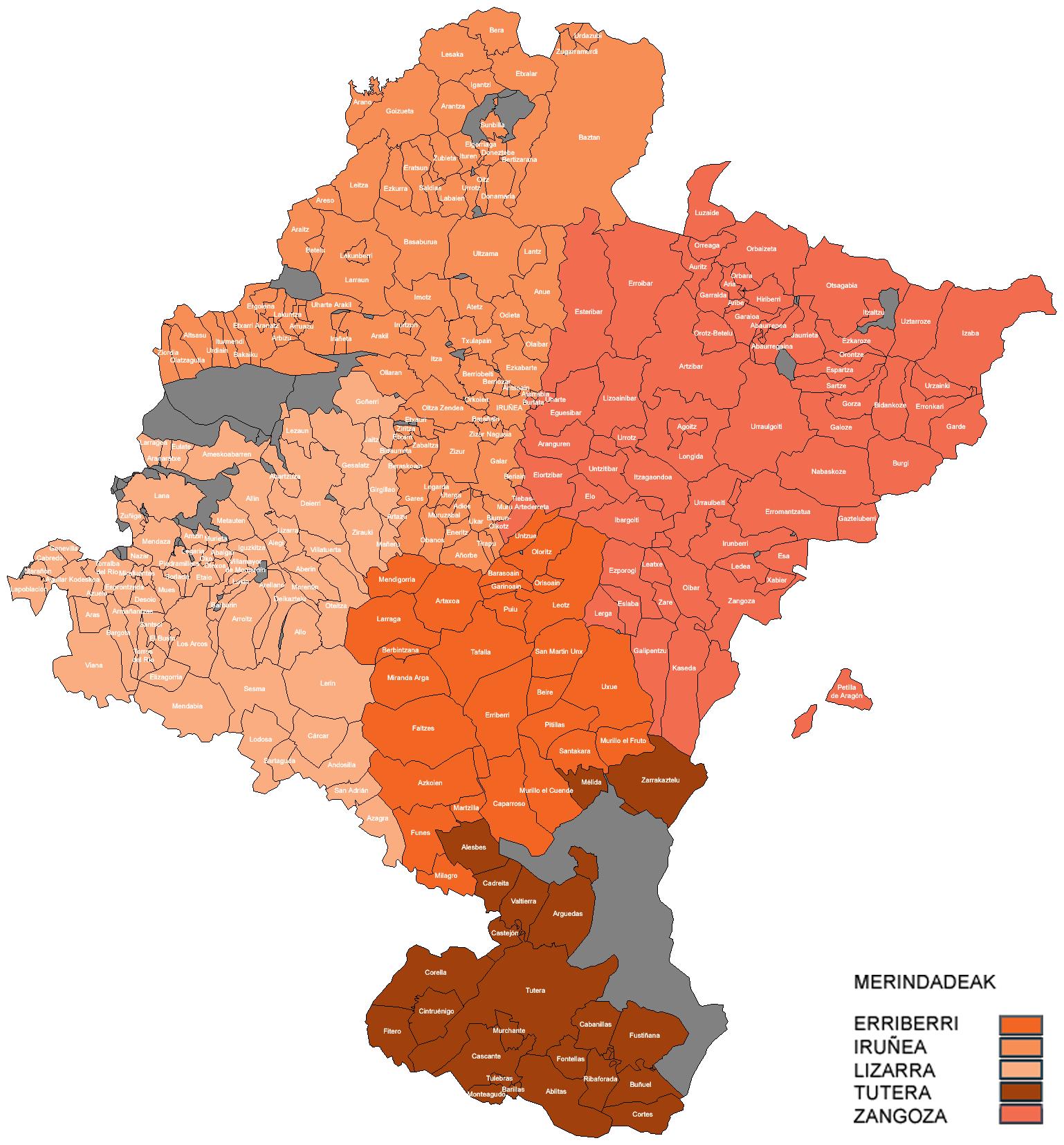 Merindades and municipalities of Navarre 2007