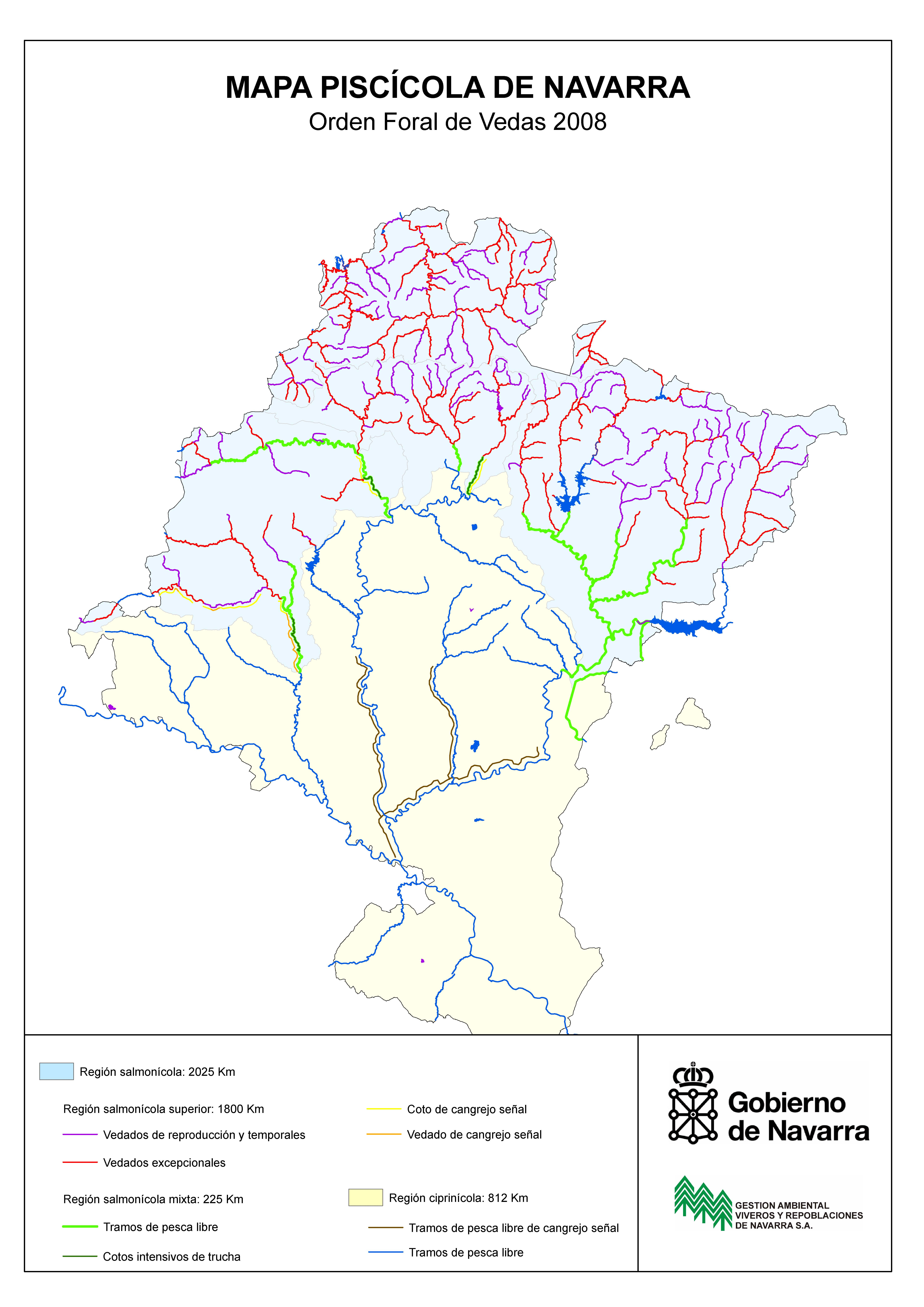 Mapa piscícola de Navarra 2008