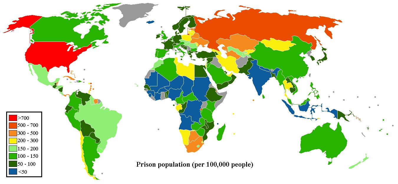 Población reclusa en el Mundo