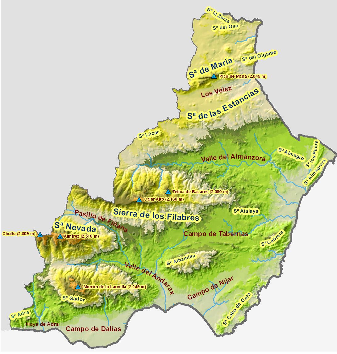 Mapa físico de la provincia de Almería 2008